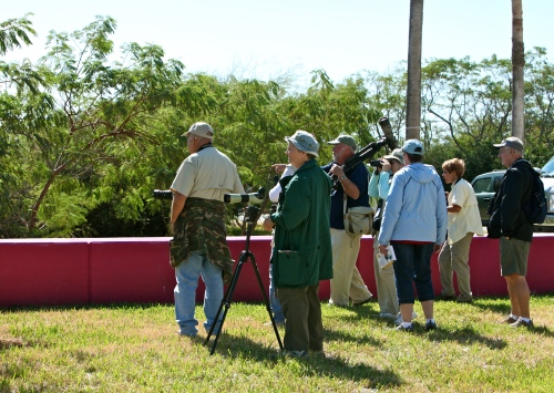 Jon Dunn points out a bird to interested birders, SPI Convention Center.